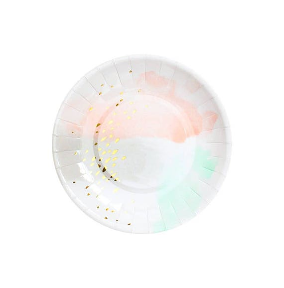 Pastel Watercolor Paper Plates Gold Party Plates Peach and Mint PartyTableware Wedding Paper Plates Bridal Shower Plates Paper Plates from ...  sc 1 st  Etsy Studio & Pastel Watercolor Paper Plates Gold Party Plates Peach and Mint ...
