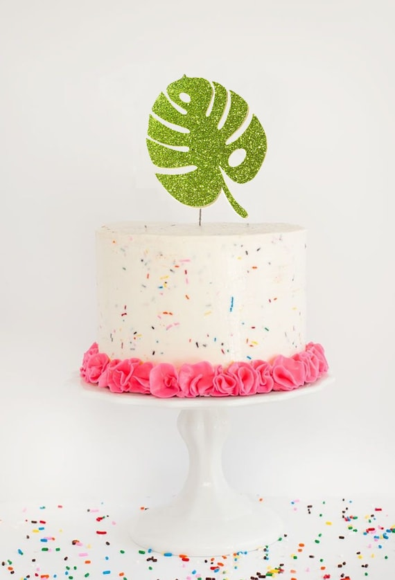 Astounding Monstera Leaf Cake Topper Tropical Leaf Cake Topper Tropical Etsy Birthday Cards Printable Trancafe Filternl