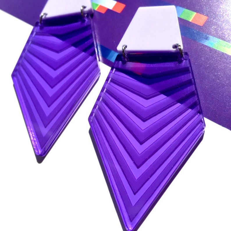 Acrylic Geometric Etched Illusions Earrings  Accessory  Statement Piece  Architectural  Abstract  Artsy  Graphic  Purple