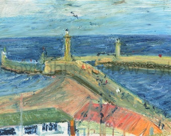 Whitby harbour entrance with retreating tide