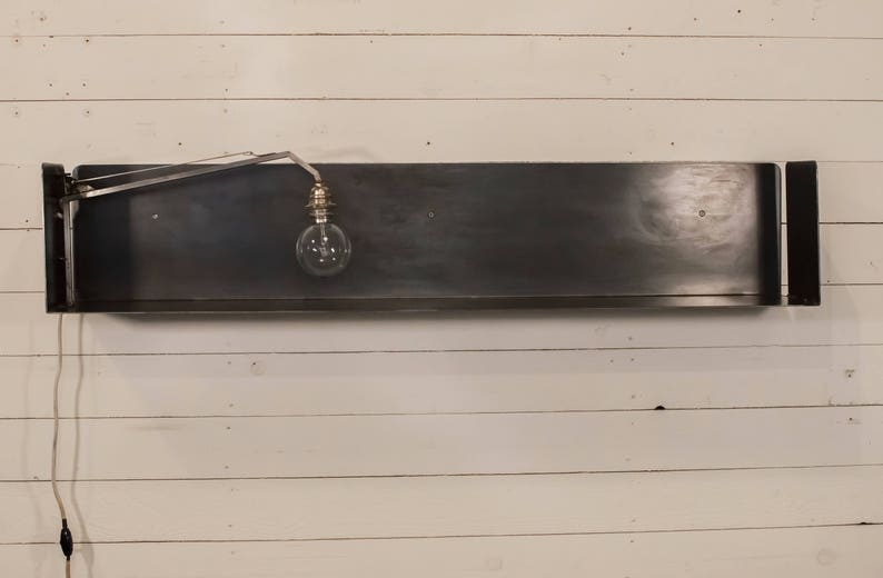 Wandplank Met Lamp.Ijzeren Wand Plank Met Lamp Etsy