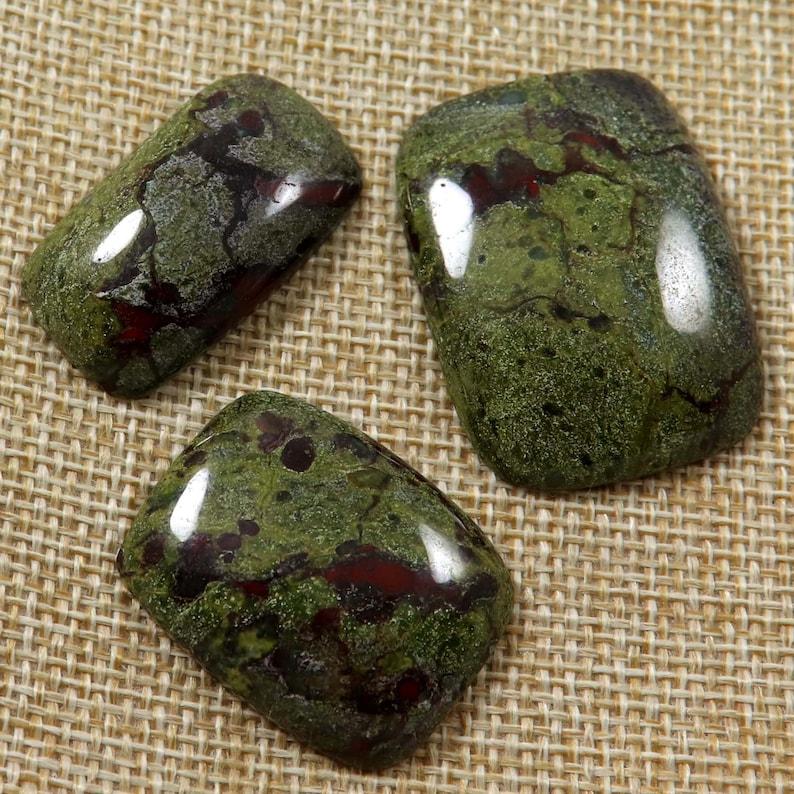 Natural Dragon Blood Jasper Gemstone Cabochon Octagon Shape Ring Earring Pendant Crafts Jewelry 159.30 Cts 3 Pcs Wholesale Lot LAW-17