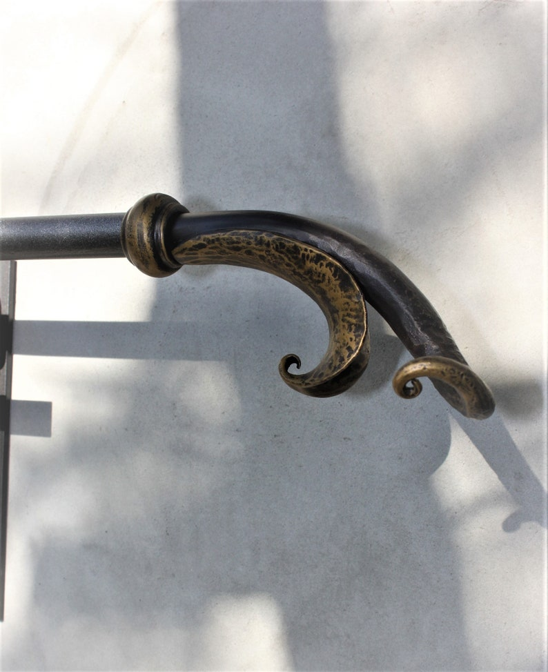 window treatment Artisan hammered metal Wrought iron home decor Art metal Hand forged accent Curtain rod finial