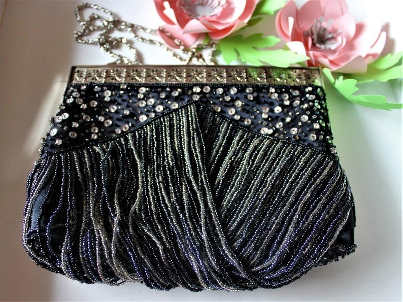 Vintage evening kiss lock purse, Gatsby, Sparkling, Black Beaded bag,  bohemian clutch, embellished handbag, Christmas gift, Art nouveau