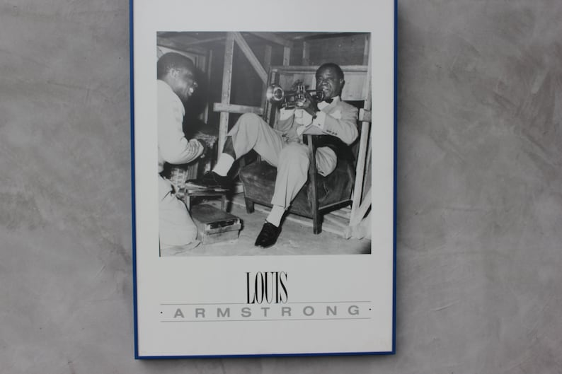 Music shop Decor Love Music Gift Vintage Framed Poster LOUIS ARMSTRONG Rare Big Wall Picture Satchmo Framed Art Jazz Bar