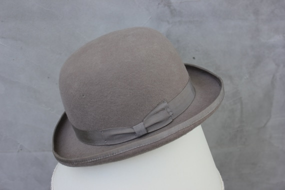 Vintage Bowler Hat English Borsalino Hat Men Gray