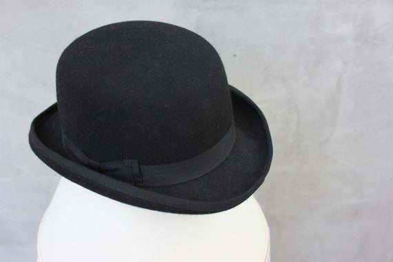Vintage Bowler Hat British Borsalino Hat Men Black