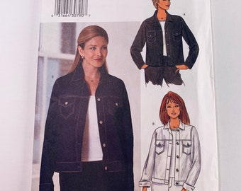 a3b66a71 Butterick Easy Sewing Pattern 6376 Jean Jacket Sizes 12, 14, 16, Uncut with  instructions Good condition #1160
