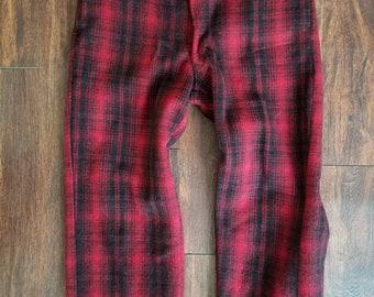 bf1749b835e8b 50s Woolrich Wool Hunting Pants Red Plaid Mens 34 x 28