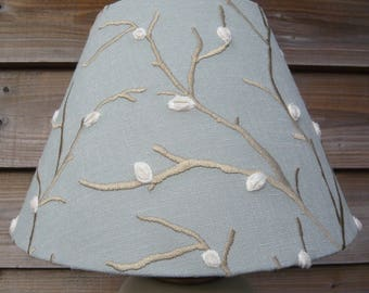 Duck egg blue 30cm coolie lampshade or ceiling light shade embroidered pussy willow branches