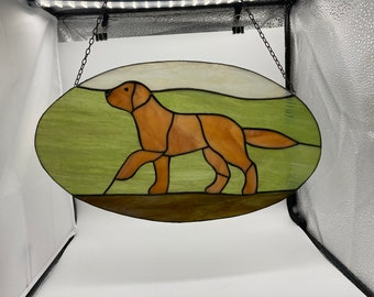 Lebber vintage® - Stained glass, labrador. Window hanger with dog.