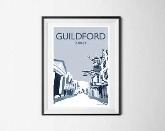 Guildford High Street A4 Poster Schwarz U0026 Weiß, Surrey Druck, Englische  Wandkunst, Poster Illustration, Wohnzimmer, Kunstdruck, Wand Dekor,
