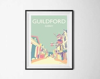 Guildford High Street A3 Poster VINTAGE, Surrey Druck, Englische Wandkunst,  Poster Illustration, Wohnzimmer, Kunstdruck, Wand Dekor