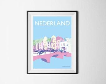 Nederland Canal, Poster BLUE, Netherlands Canal print, Dutch Wall Art, Poster illustration, Den Haag, Art print, A4, Amsterdam, The Hague