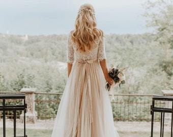 f2ee3027103d7 Bohemian Open Back Tulle Wedding Dress/Beige Boho Wedding Dress/Bohemian  Lace & Tulle Wedding Dress/Bohemian Long Sleeve Lace Wedding Dress