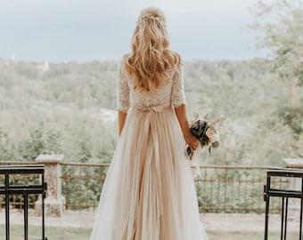 b896fd1e845ae Bohemian Open Back Tulle Wedding Dress Beige Boho Wedding Dress Bohemian  Lace   Tulle Wedding Dress Bohemian Long Sleeve Lace Wedding Dress