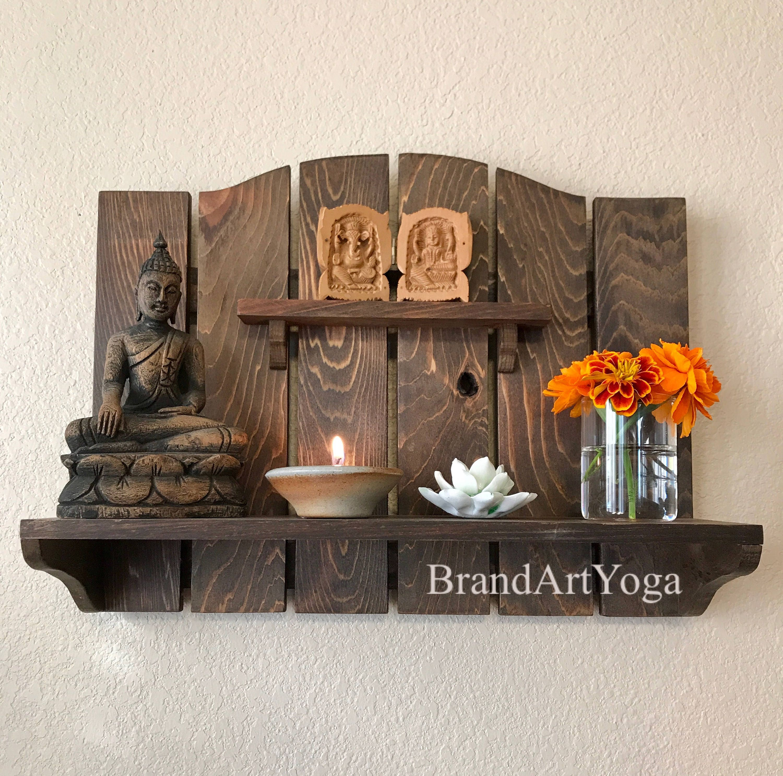 Meditation Altars For Sale: Wall Mounted Personal Meditation Altar Spiritual Art Yoga
