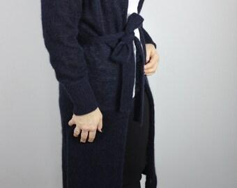 READY TO SHIP - long navy wool cardigan ce5583696