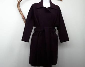 eggplant coat, woman wool coat, handmade coat, oversized coat, belted coat, purple coat, winter coat, wool jacket, warm coat, loose fit coat