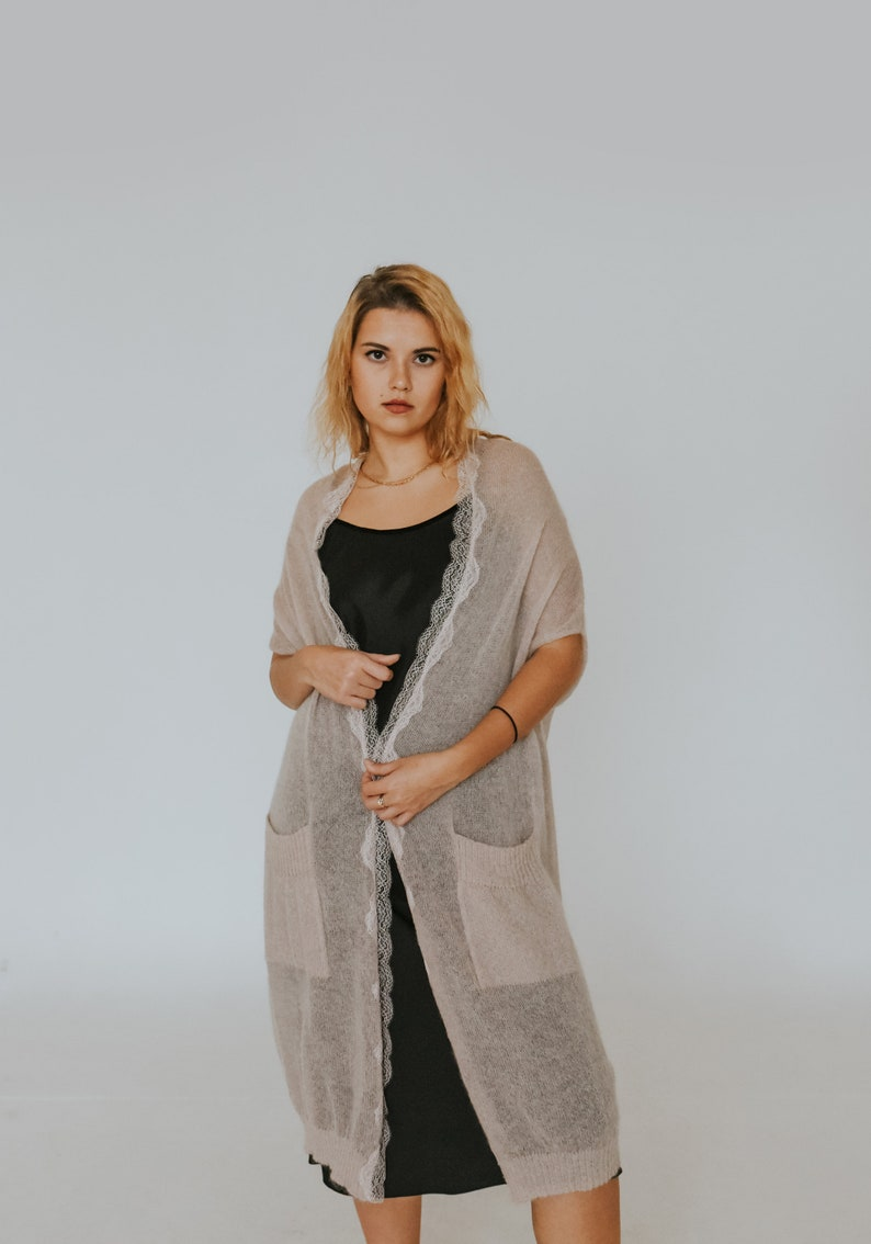 powder beige sheer wool cardigan handmade romantic wool cardigan READY TO SHIP romantic cardigans knitted wool vest with lace detail