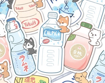 Cute Asian Drink Stickers, Kawaii Dog Stickers, Laminated Vinyl Stickers