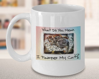 Fun Cat Coffee Mug | What Do You Mean I Pamper My Cat? | Kitty-Cat Teacup | Gifts For Feline Friends | Best Cat Lover Presents | 11 Oz Cup
