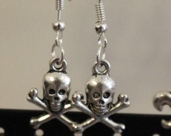 Skull and crossbone silver charm earrings