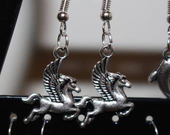 Winged horse charm earrings