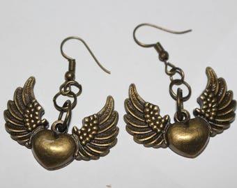 Steampunk winged heart earrings
