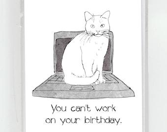 Bady Kitty Laptop Birthday Greeting Card