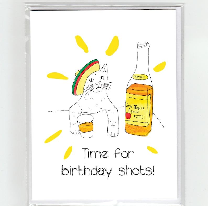 Carte De Voeux Joyeux Anniversaire Tequila Cat Etsy