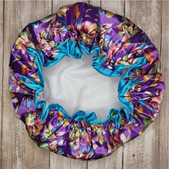 Reusable Purple Floral Shower Cap