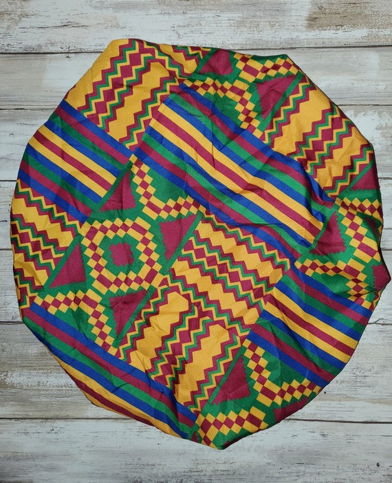 Adult Kente Pattern Bonnet Cap