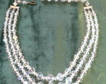 Vintage Aurora Borealis Multi Strand Crystal Necklace