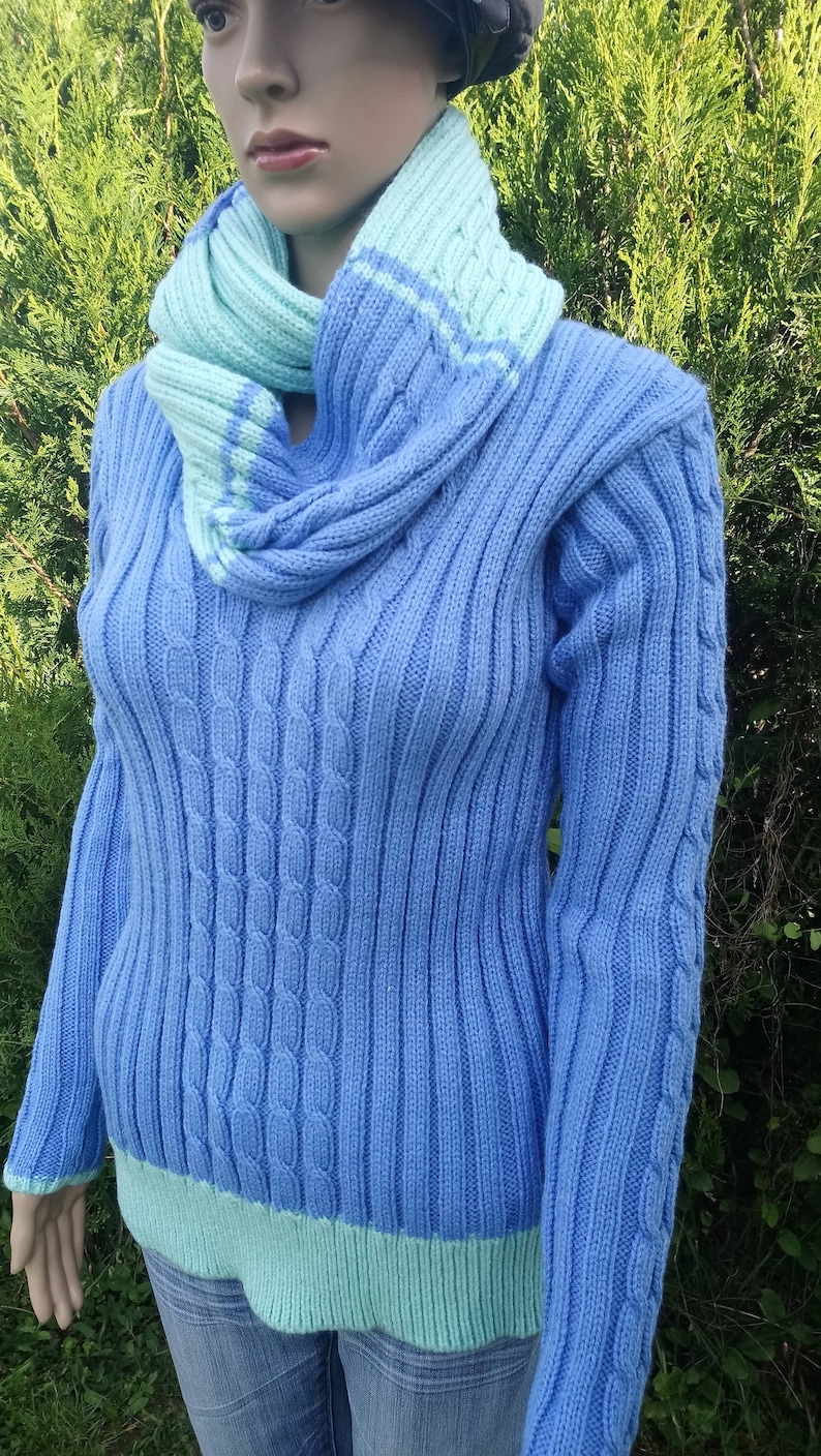gift for her sweater and scarf blue sweater women gift handmade Wool Sweater Wool Sweater Women sweater sweater knitted sweater