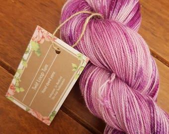 Amethyst yarn, merino nylon sparkle base, 4ply sock yarn