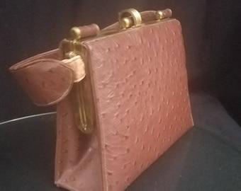 c971a2284b36a Tan ostrich handbag | Etsy