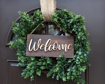 Welcome Sign, Welcome wood cutout, 3d welcome Sign, script sign, Cursive Word, fixer upper style, Magnolia, Farmhouse, Laser Cut, Boho