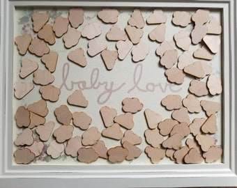 Rustic Baby Shower Guest Book, Alternative Guest Book, Guest Book Idea, Baby Shower Guestbook, Alternative Wood Clouds, Laser Cut Clouds