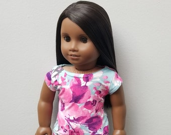 Floral Print T-shirt for 18 inch dolls such as American Girl Dolls