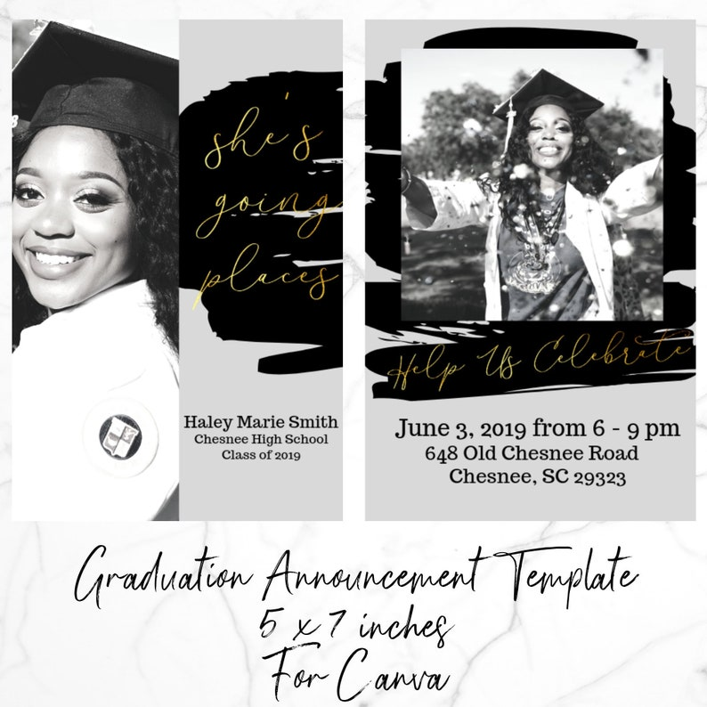 Senior Graduation Announcement, Black, Gold, Easy Canva Template, Feminine,  Cheap