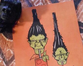 """DRUNKIE SHRUNKIES Limited Edition Tiki Art 8.5"""" x 11"""" Laser Print - Shrunken Heads!"""