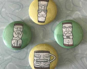 "PMP Peanut TIKI MUG 1"" Pin Button Set of 4! Pinback Paul Marshall Products"