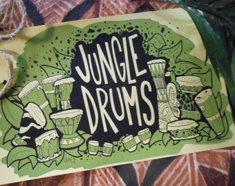 "JUNGLE DRUMS Limited Edition 11"" x 17"" Tiki Art Screen Print!"