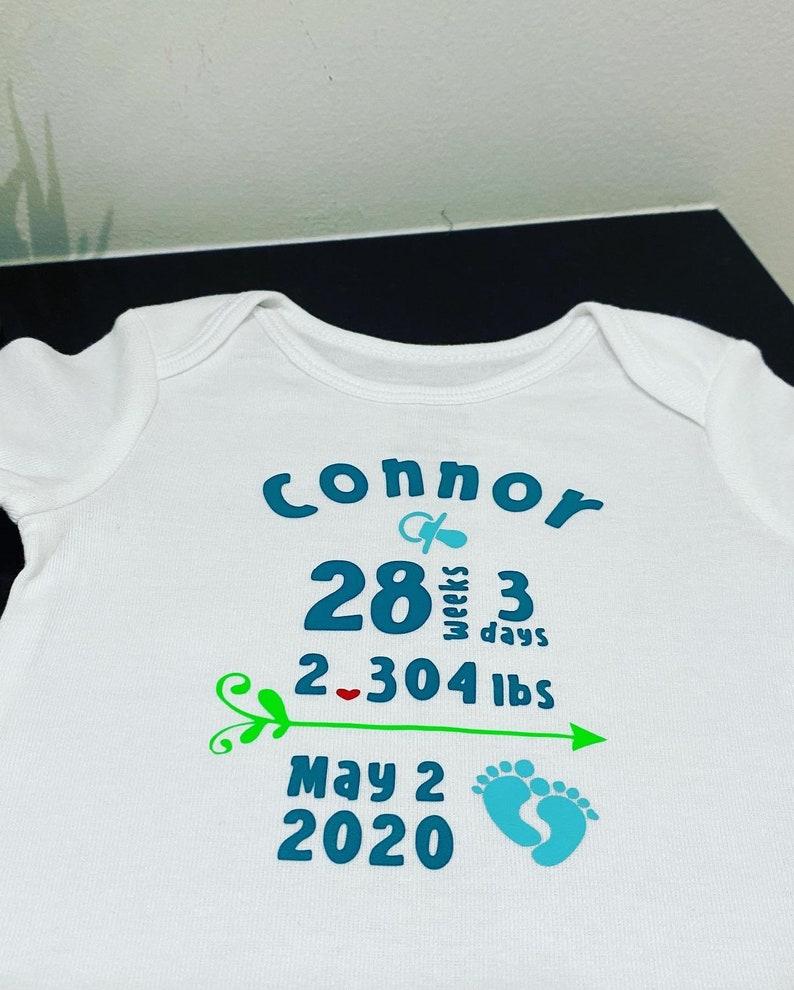 custom onesie Personalized Baby Onesie new baby announcement onesie baby stats onesie preemie onesie
