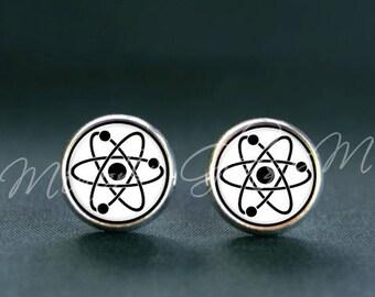 Atom Post Earrings, Science Studs Earrings, Tiny Earrings, Quantum Physics Earrings, Molecule Atom, Graduation Gift, Gift for Her or Him