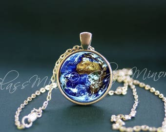Old world necklace etsy planet earth pendant world map pendant solar system jewelry wanderlust travel earth globe necklace geography necklace gift for her gumiabroncs Gallery