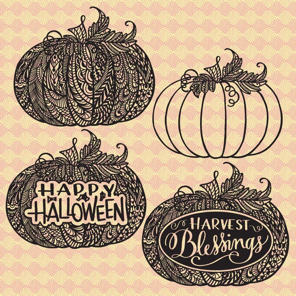 Pumpkin Zentangle Halloween Harvest Svg Dxf Png Eps Etsy