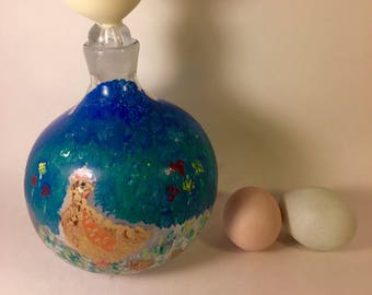 Chicken Crazy? Chicken Parade. Original acrylic painting. Round decanter with glass 'egg' stopper. Are you a chicken crazy lady? Me too!