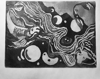 Intaglio Aquatint etching print, handmade original artwork